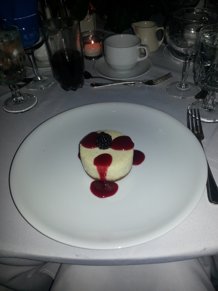 Divine Cheescake with Raspberry Sauce and a Blueberry!