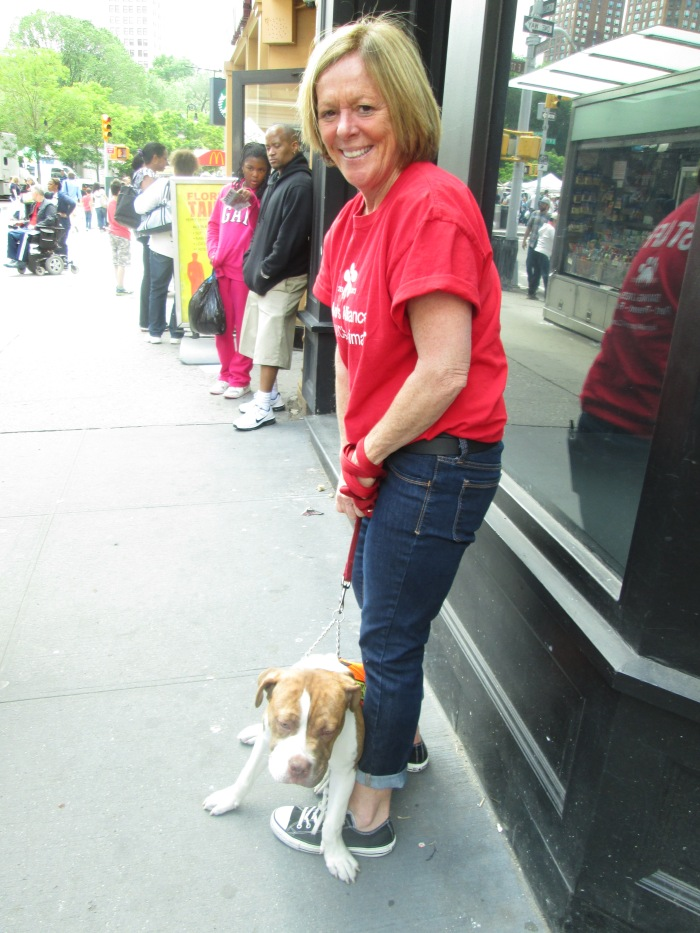 And here's Barbara who works with The Mayor's Alliance for New York City Animals seeing if she can find Waverly a new home!