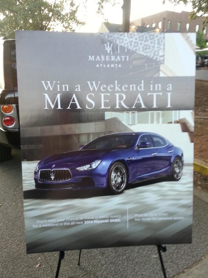 Yup, Maserati Atlanta ran a contest to win a Maserati for the weekend!