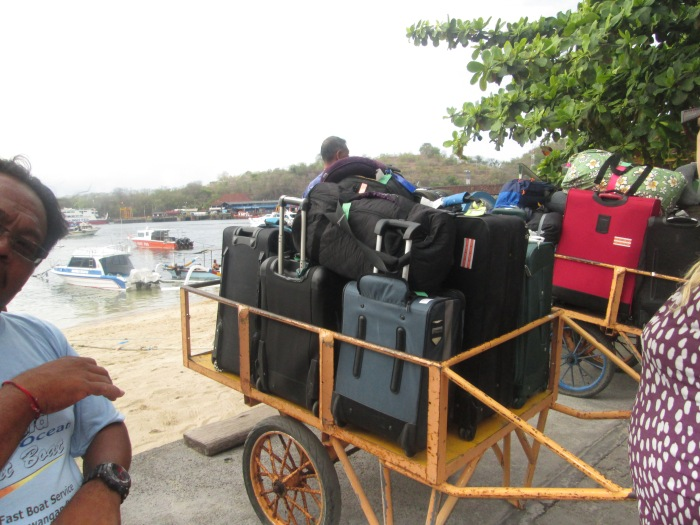 Our luggage waiting to be put on the Ferry to Gili T.
